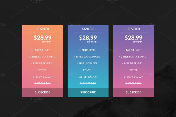 blended neon pricing tables