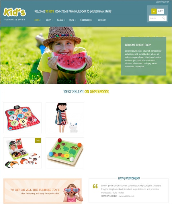 WordPress Kids eCommerce Theme