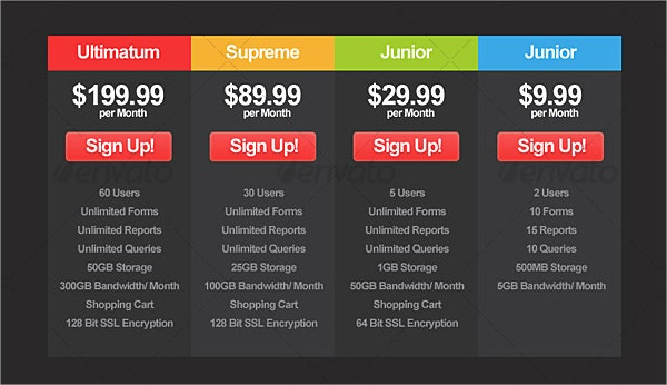 3 style modern pricing table designs
