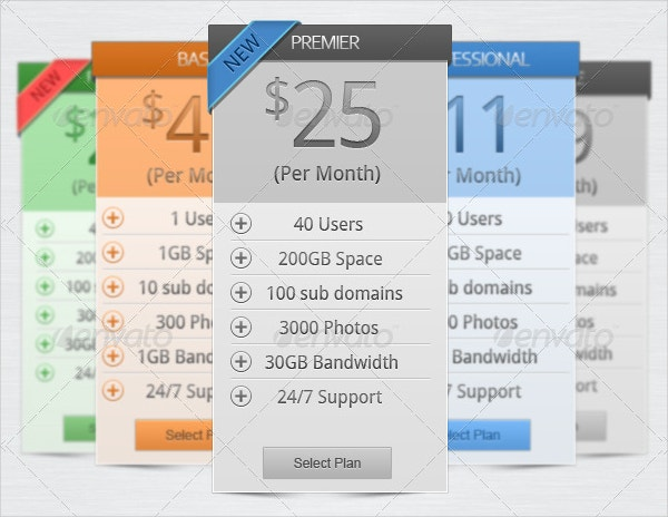 elegant pricing table design
