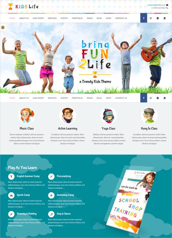 kids children education wordpress theme