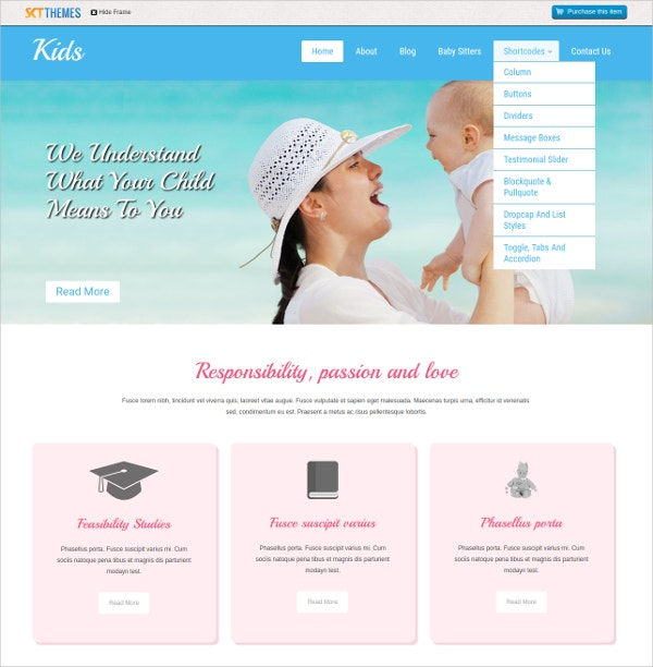 Responsive Kids & BabySitter WordPress Theme