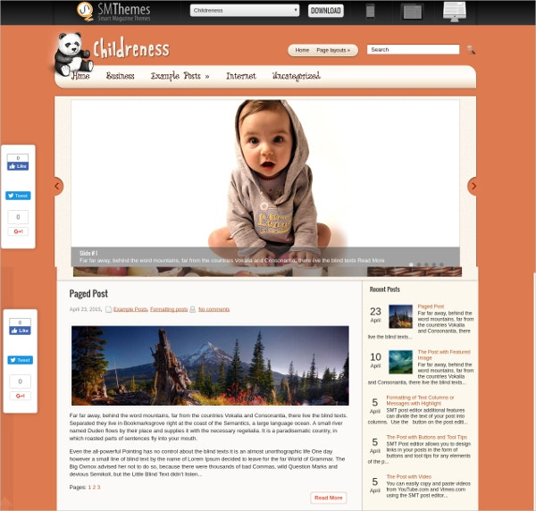 Free Unique Kids WordPress Theme