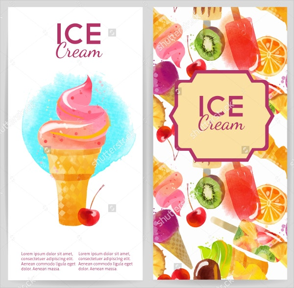 Watercolor Ice cream flyer
