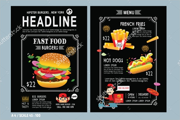 A4 Size Fast food flyer