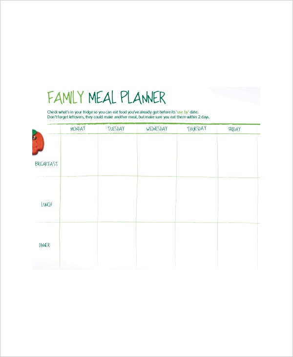 family meal planner template1