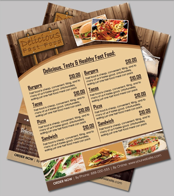 Delicious Fast Food Menu Flyer