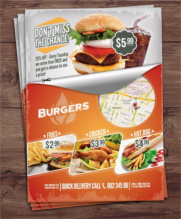 23 fast food flyer templates free psd ai vector eps for Free food brochure templates
