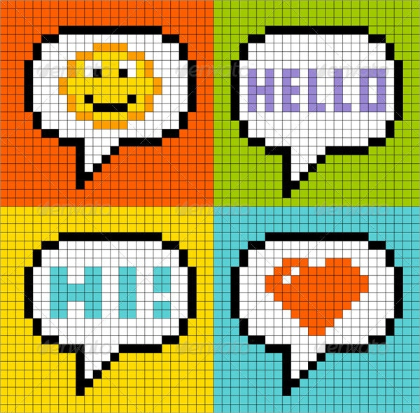 Pixel Art Online Messaging Bubbles