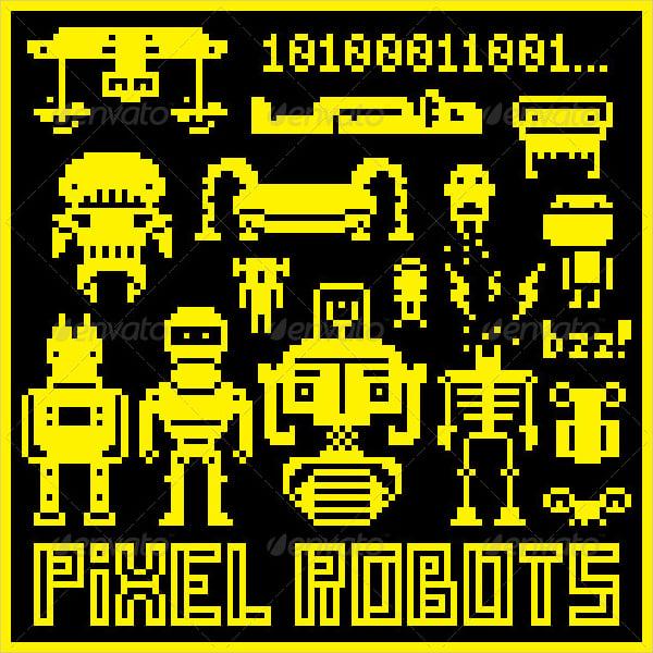 pixel art robots
