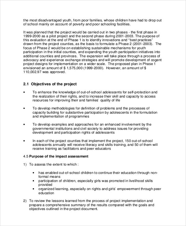 Project Assessment Template   8+ Free Word, Pdf Document Downloads