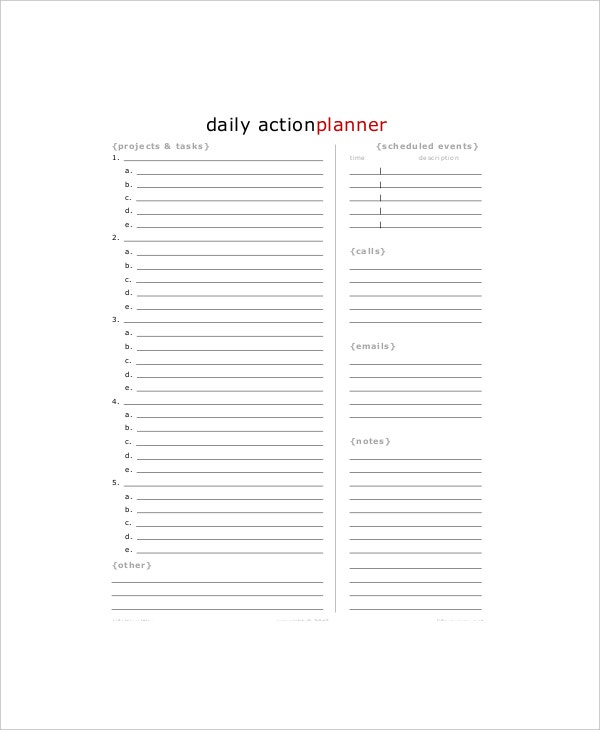 9  daily action planner templates