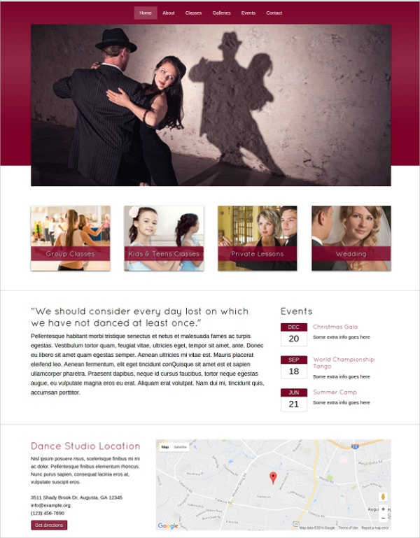 online dance classes studio wordpress website theme