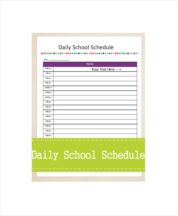 college school schedule template - 7 daily schedule planner templates free sample example