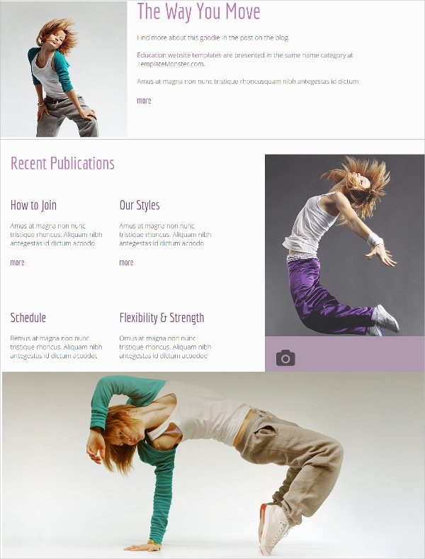 free dance studio html5 website theme