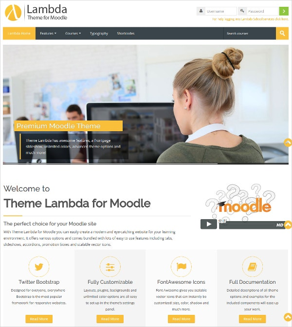Responsive Online Education Moodle Bootstrap Theme $44