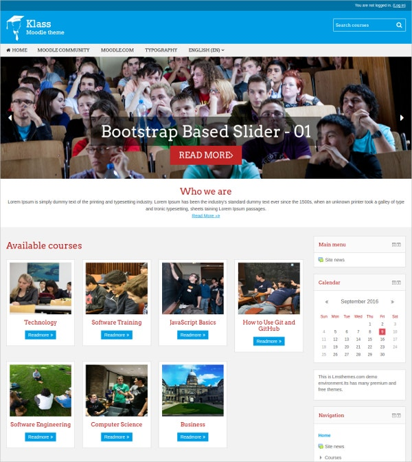 Free Responsive Moodle Theme