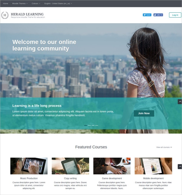 Responsive Online Learning Moodle Theme