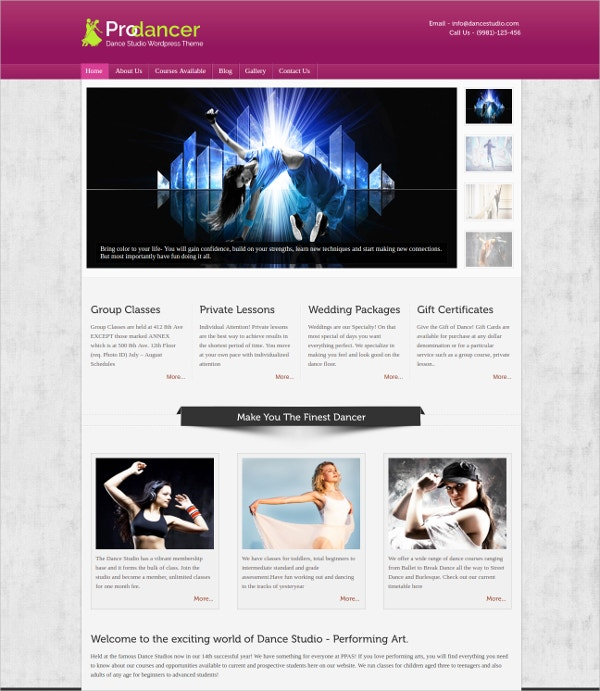 Dance Studio Project website Template