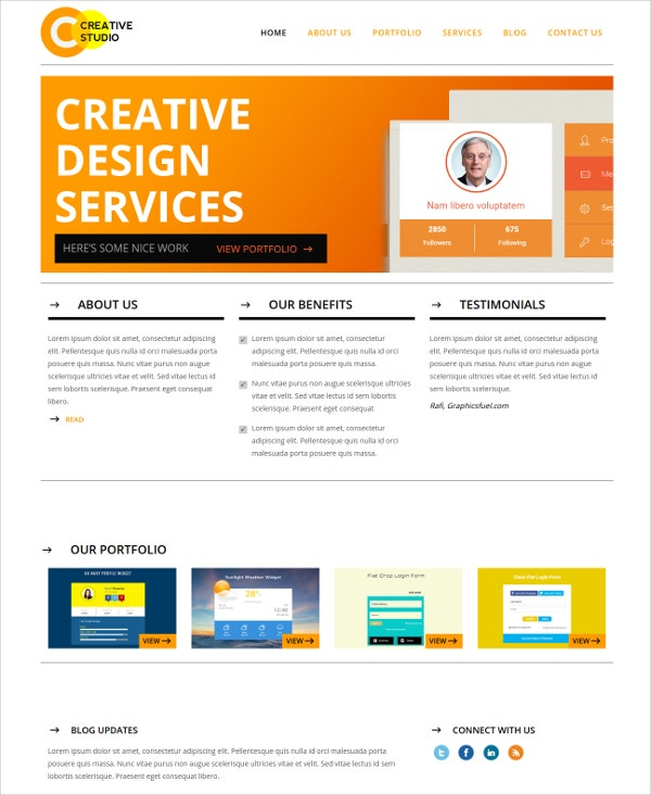creative business studio bootstrap website template