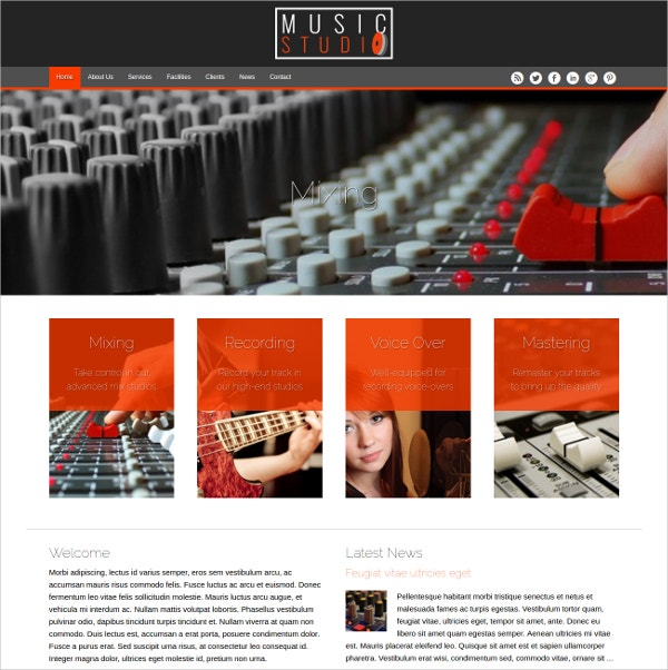 music studio wordpress website theme