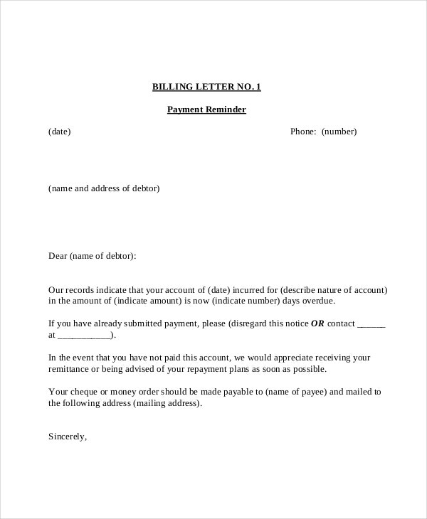 Payment Reminder Letter Template - 7+ Free Word, Pdf Document