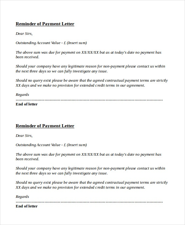 Payment Reminder Letter Template   Free Word Pdf Document
