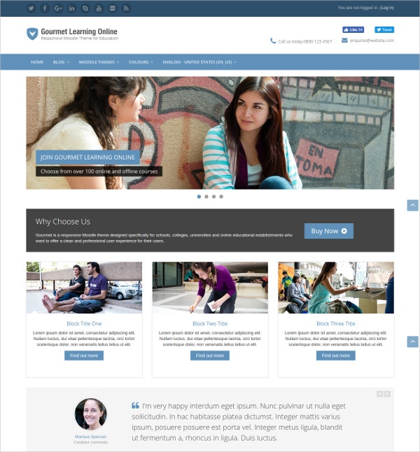responsive colleges bootstrap moodle theme
