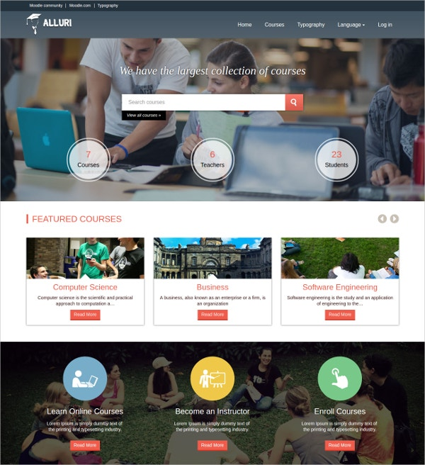 Responsive University Moodle Bootstrap Theme