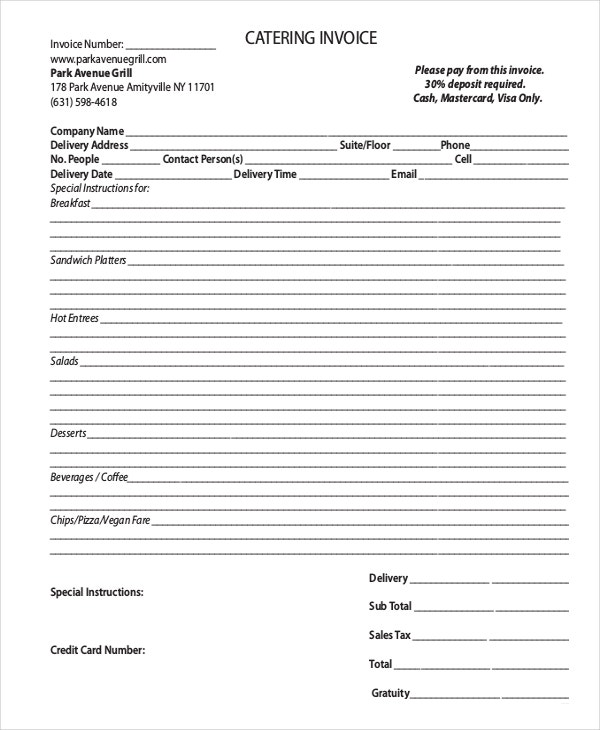 Catering Invoice Template Word Investasibimbelinfo Wedding Services