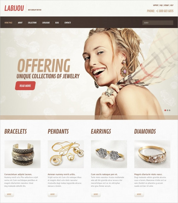 Premium Jewelry WordPress Website Theme $75