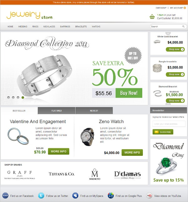 Best Jewelry Store Magento Website Theme $74
