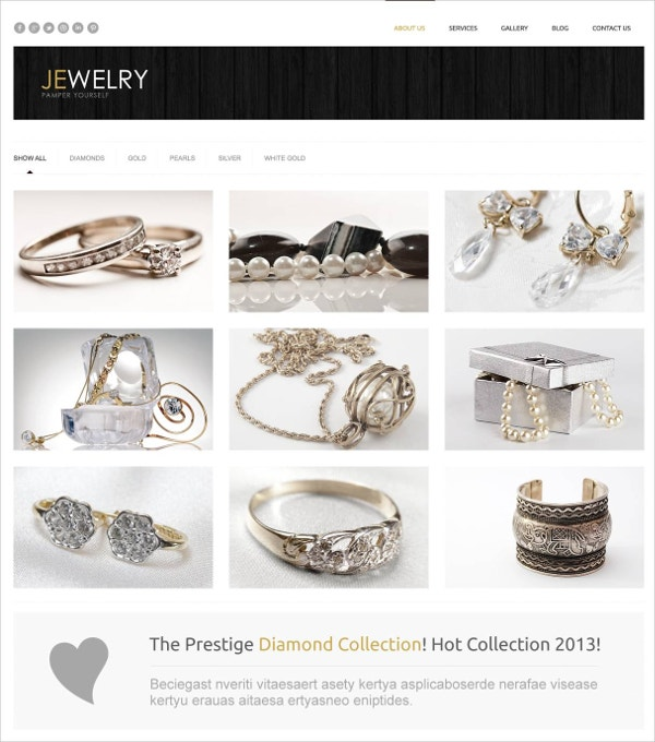 Responsive Jewelry WordPress Website Theme $75