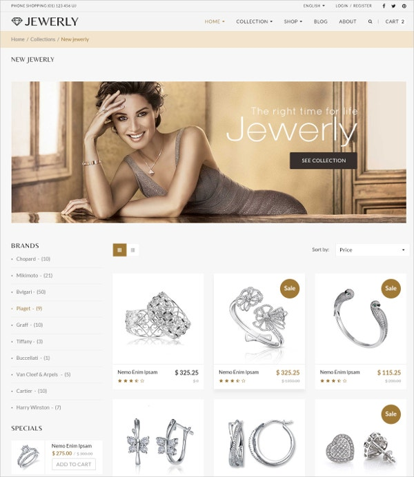 Minimal Jewelry Responsive WordPress Website Theme $59