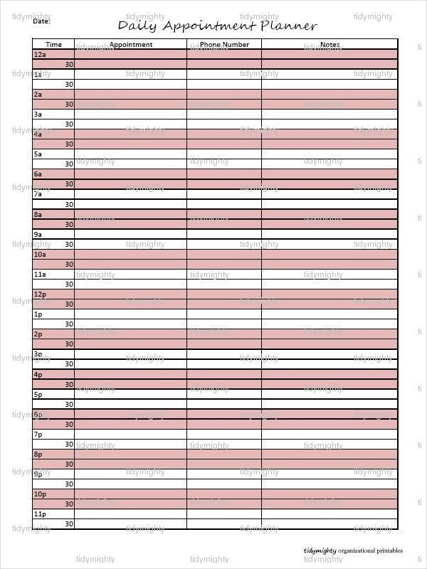 Personalized Appointment Daily Planner Example