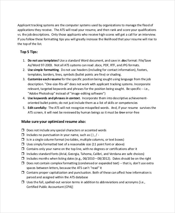 Parse Resume - 4+ Free Word, Pdf Documents Download | Free