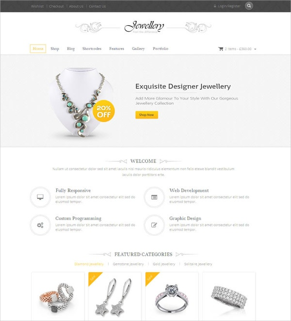 Fashion Jewellery WooCommerce Website Theme $59