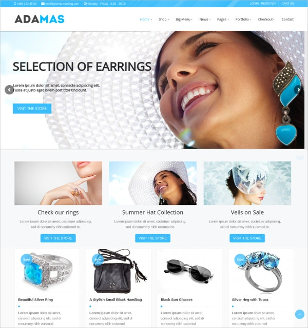 Jewelry Responsive WooCommerce Website Theme $49