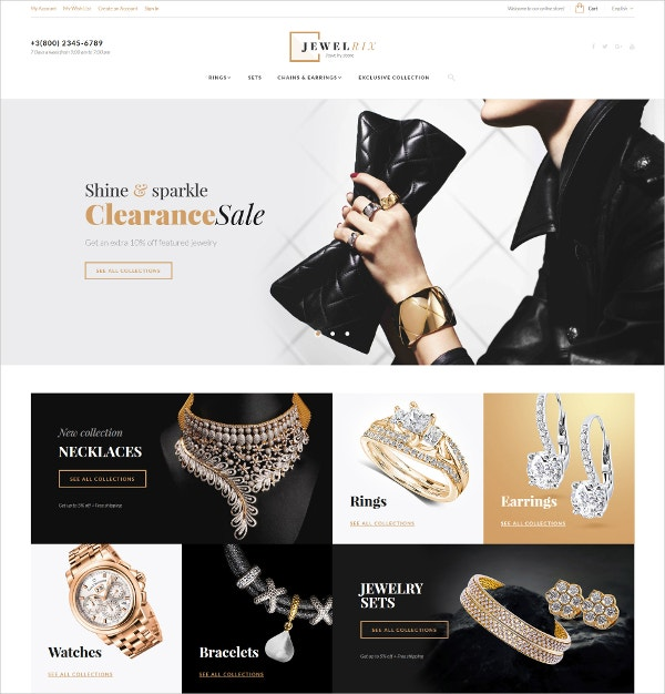 Awesome Jewelry Store Magento Website Theme $179