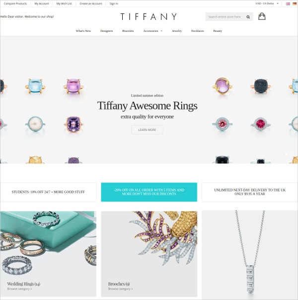Modern Jewelry Magento Website Theme $84