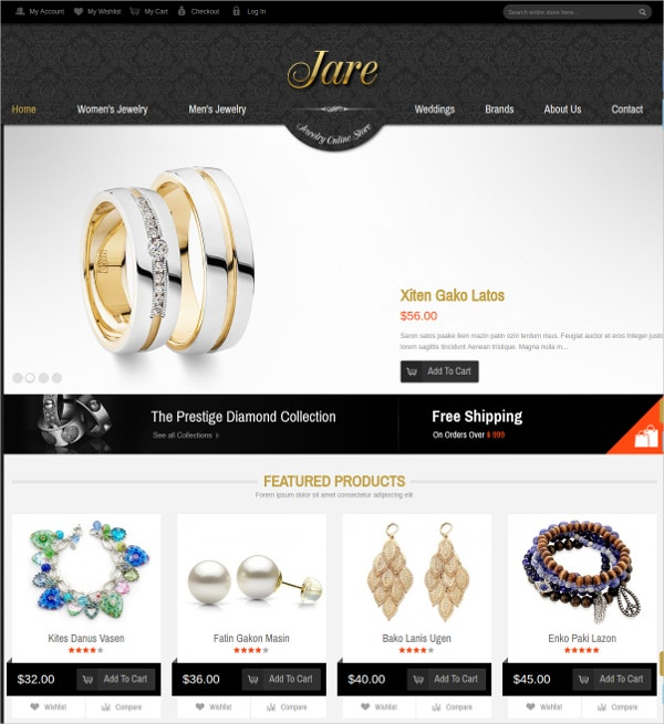 Jewelry & Accessories Magento Website Theme $68
