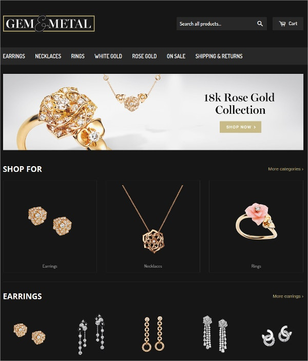 Jewelry, Gem & Metal Website Theme