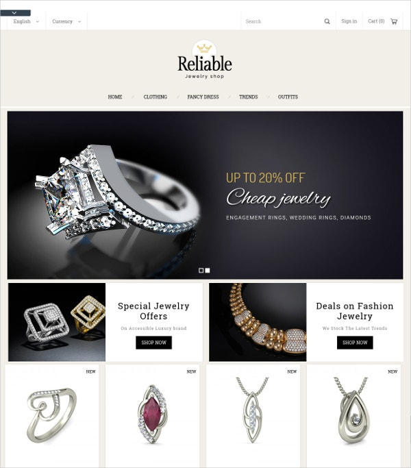 jewelry diamond website theme