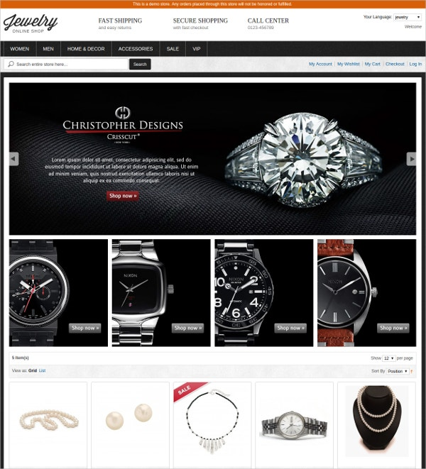 Free Magento Jewelry Website Theme