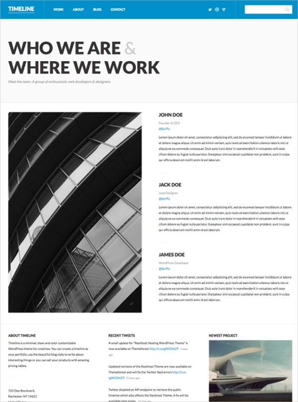 Timeline Minimal WordPress Theme