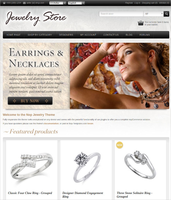 Jewelry, Cosmetics, Accessories Website Theme