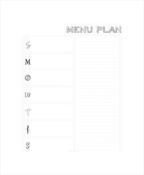sample blank daily menu planner
