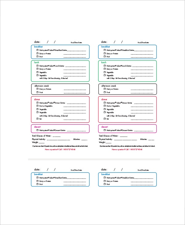 sample daily menu planner template
