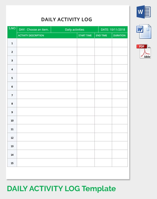 Free Daily Activity Log Template Download in Word, PDF | Free ...