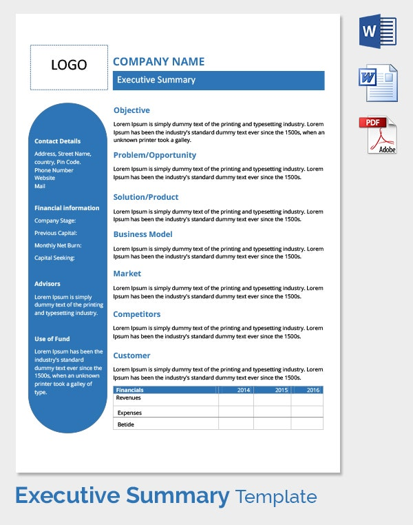 Free Executive Summary Template Download in Word PDF – Template Executive Summary